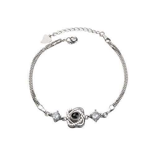 New Memory Projection Armband,100 Sprachen Ich liebe dich Anhänger und Diamant Ornamente,Kupfer 19cm Kreative Neuheit Armband,Geschenk für Sie und Ihre Freunde Familie Am besten drückt Liebe (H)