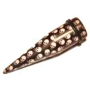 SINGLE Skulls Black + White Ear Tapers - Acrylic Expander Stretchers Plug Piercings 16MM