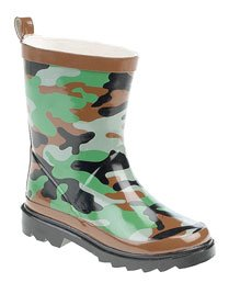 Stormwells Boys Green Camouflage Wellies