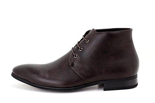 Hommes Bottes Cheville Décontractées Habilléà Lacets Chaussures Habillées Faux Cuir Retro taille UK Café