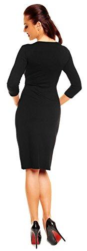 Zeta Ville - Robe élégante en jersey - Manches ¾ - Décolleté en V - Femme - 001z Noir