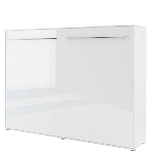 Schrankbett CONCEPT PRO Wandklappbett - Horizontal (140x200 cm, weiß hochglanz)