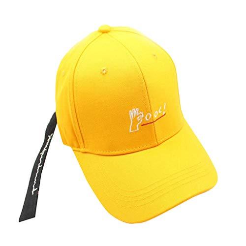 EUZeo Damen, Herren und Kinder Einfarbig Buchstaben Gestickt Baseballkappe mit Band, Casual Verstellbar Baseball Kappen Mode Caps Schirmmütze für Outdoor Sports Streetwear