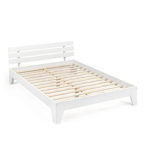 Vicco Holzbett Korfu Futonbett 140x200cm Kiefer Doppelbett Bettgestell Massivholz in weiß oder Natur lackiert (Weiß)