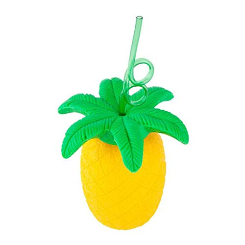 Amosfun Ananas Trinkbecher mit Strohhalmen Hawaii Tropical Summer Party Kunststoff Ananas Tassen Luau Party Beach Supplies Dekorationen 1 STÜCKE 700 ml (Gelb)