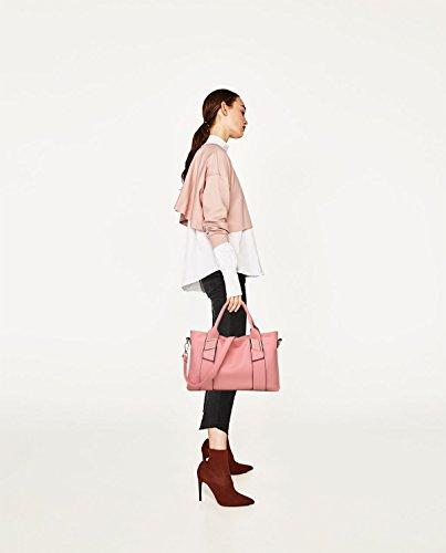 Tisdain Tasca di cuoio molle casuale dell'unità di elaborazione della borsa delle signore grande portafoglio di modo del sacchetto del messaggero della spalla del pacchetto Rosa