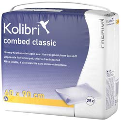 Kolibri combed premium classic Krankenunterlage 60x90cm gelb 4x25 Stk.