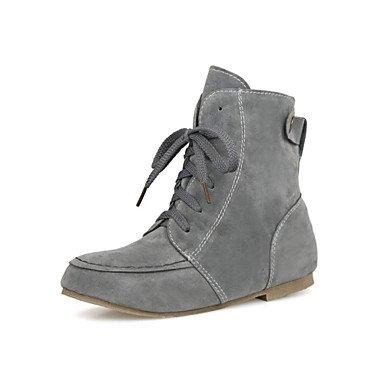 Bottes pour femmes automne hiver robe en simili cuir Confort Talon plat décontracté à lacer. Gray