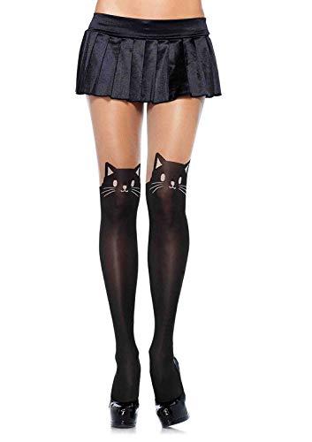 Leg Avenue 7908 - Blickdichte Strumpfhose Mit Katzen Print, schwarz/nude, Einheitsgröße (EUR 36-40), Damen Karneval Kostüm Fasching
