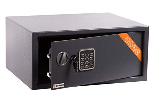 Brihard Laptop Tresor Safe mit Elektronischem Schloss, 20x42x35cm (HxWxD), Titan Grau Laptop-safe