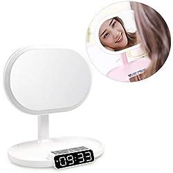 HYwot Miroir Lumineux de Maquillage, Miroir de Maquillage Lumineux LED avec Haut-Parleur Bluetooth et Carte TF, Commutateur à Capteur Tactile, Fonction Réveil et Radio,Blanc