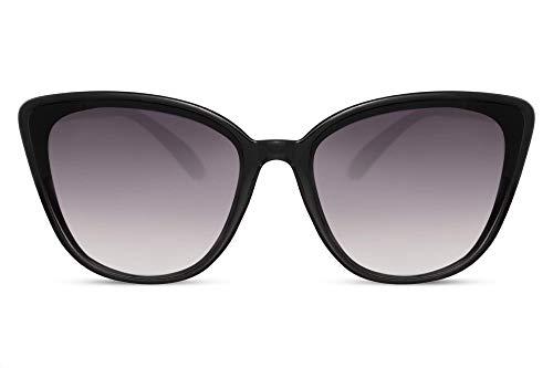 Cheapass Damen-Sonnenbrille Schmetterling Schwarz Glänzend Groß X-XL Designer-Brille UV-400 Plastik Frauen