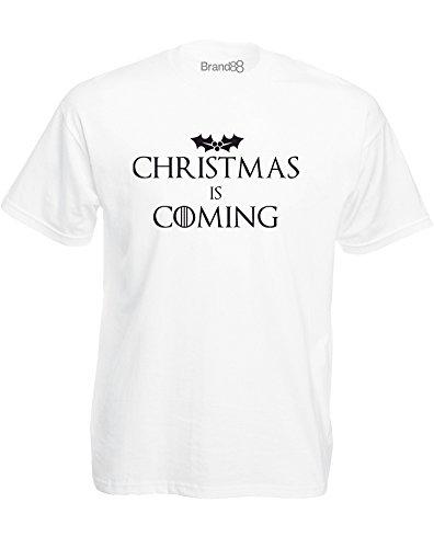 Brand88 - Christmas Is Coming, Mann Gedruckt T-Shirt Weiß/Schwarz
