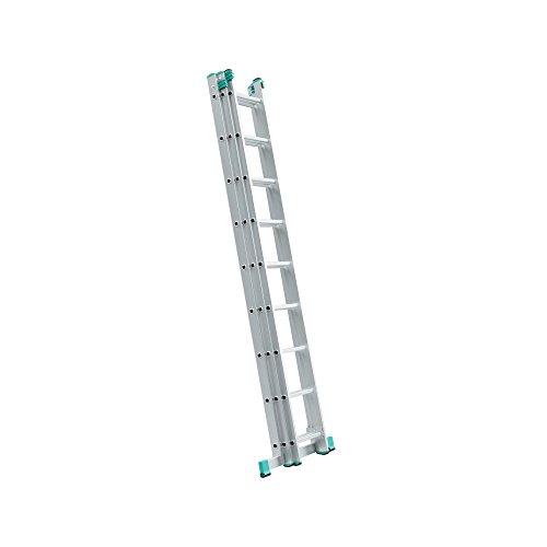 Schiebeleiter, ausziehbar, 3Aufstellmöglichkeiten, 8 Stufen, grau