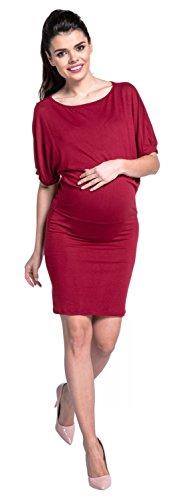 Zeta Ville - Maternité robe stretch manche chauve-souris col bateau - femme-700c Cramoisi
