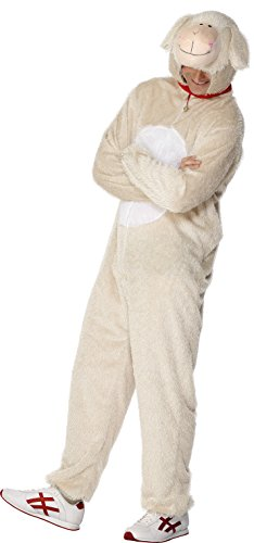 Smiffys, Unsiex Lamm Kostüm, Jumpsuit mit Kapuze, Größe: L, (Kostüm Für Schaf Erwachsene)