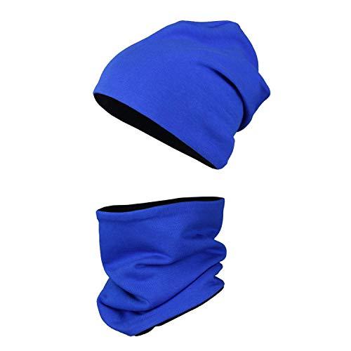 TupTam Unisex Kinder Beanie Mütze Schlauchschal Set, Farbe: Kornblumenblau/Schwarz, Größe: 48-50 cm