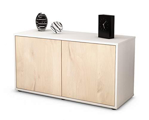 Stil.Zeit Möbel TV Schrank Lowboard ADA, Korpus in Weiss Matt/Front im Holz Design Zeder (92x49x35cm), mit Push to Open Technik, Made in Germany