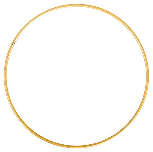 Rayher 2505306 Metallring, gold beschichtet, 25 cm ø, Stärke ca. 3,5 mm, Drahtring zum Basteln, für Wickeltechnik, Traumfänger Ring, Makramee Ring, Floristik