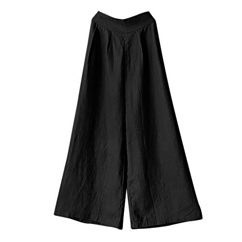 Cotton Wide Leg Capris (Makefortune  Women's Plus Size Elastic Waist Cotton Capri Pants Relaxed Loose Casual Full Length Trousers Fashion Wide Leg Pants S-5XL)