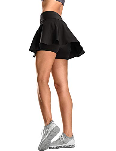CRZ YOGA Damen Tennisrock Skirt Sportrock Sport Fitness Yoga Short Falten Schwarz XS(36)