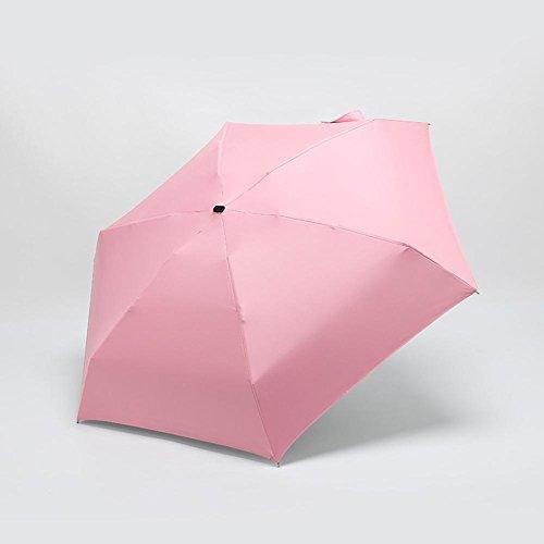 JAYLONG Mini sombrilla de viaje 6 costillas a prueba de viento robusta construcción portátil de acero inoxidable de secado rápido paraguas impermeable plegable para mujeres, hombres, niños y niños, A