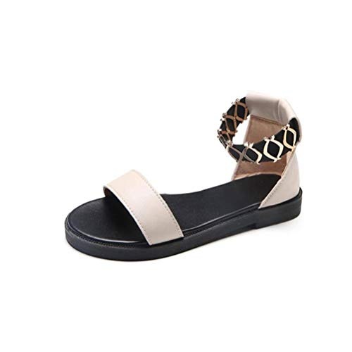 L-X Damen Damen Casual Leichte Sandale Schuhe Gummiband Pure Color Korean Style Wohnungen & Müßiggänger Summer Beach Open Toe Flatform Gummisohle Pu   Adhesive Shoes Slingback-Sandaletten für Damen Net Slingback