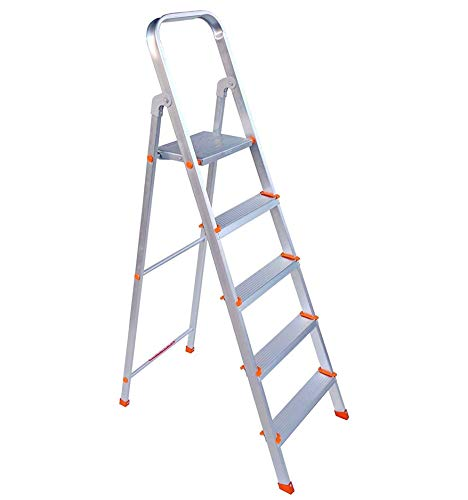 Plutomax 5 Step Foldable Aluminium Ladder for Home Use (Silver)