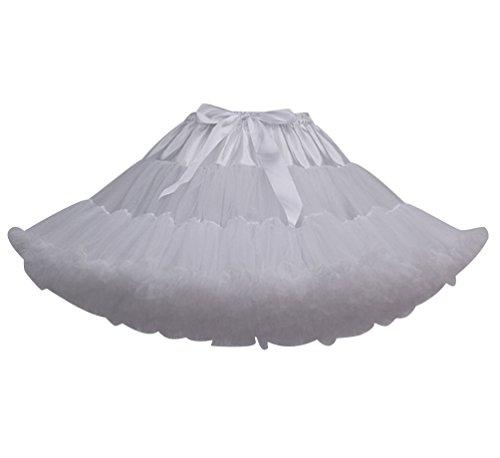 Tütü Damen Tüllrock Mädchen Tutu Rock Petticoat Unterrock Ballett Kostüm Tüll Röcke überlagerte Rüsche Festliche Tütüs Erwachsene Pettiskirt Ballerina Für Dirndl Mini Rock Layered Vintage Weiß