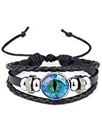 TBOP Cartoon Time Gem Hand Cowhide Black Leather Bracelet for Unisex