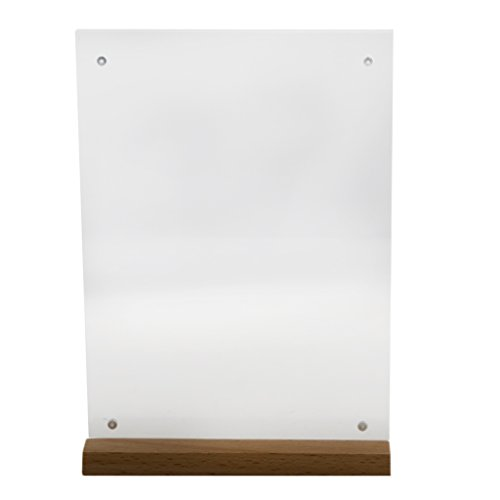 MagiDeal A4/A5/A6 Acryl Speisekartenhalter Tischaufsteller mit Holzboden, Haus Restaurant Menükartenhalter - A5