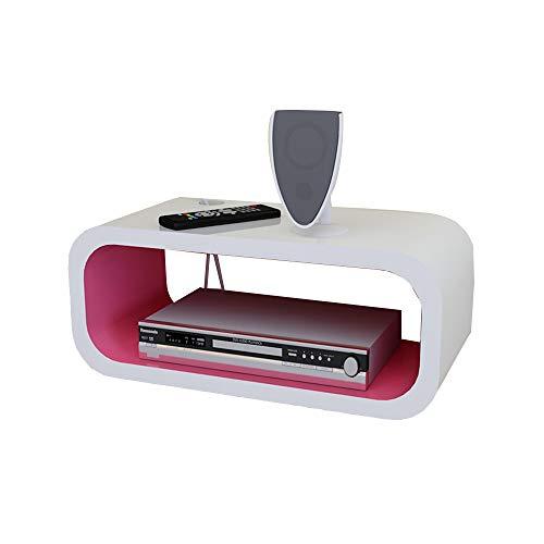 Kapazität Cd-ablage (Lagerregal FEI, Schwimmende Regale, Set Top Box Router Regale Display Holzwürfel, Schwarz + Weiß, Rosa + Weiß (40 * 20 * 15cm) (Farbe : Pink+White))