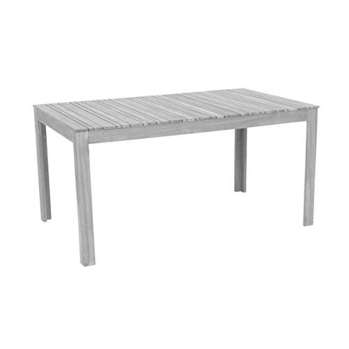 garten holzmoebel greemotion 128669 Gartentisch MAUI aus Holz-Esstisch Garten, Terrasse & Balkon-Holztisch rechteckig aus Akazie massiv-Tisch wetterfest für draußen, Grau, 150 x 75 x 90 cm