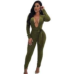 Longwu Femmes Sexy Scintillant V Cou À Manches Longues Party Clubwear Bandage Jumpsuit Armée Verte-L