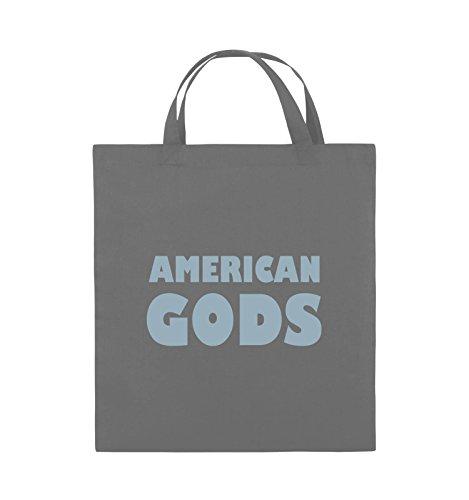 Comedy Bags - AMERICAN GODS - LOGO - Jutebeutel - kurze Henkel - 38x42cm - Farbe: Schwarz / Silber Dunkelgrau / Eisblau