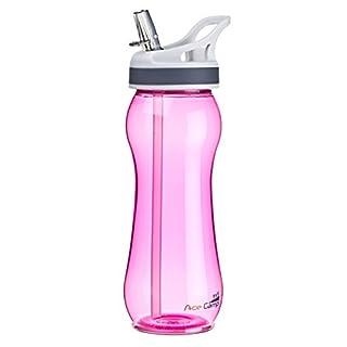 AceCamp TRITAN Trinkflasche | Wasserflasche auslaufsicher BPA-Frei | Sportflasche Trinkhalm I 600 ml I Pink I 15534