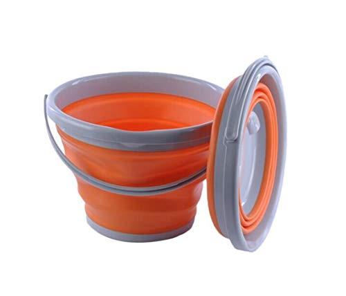 Klappeimer, Outdoor Tragbare multifunktions Angeln Eimer Hause Reisegröße Silikon Auto Waschen Eimer, Orange (5L / 10L) (Color : Orange, Size : 31.5 * 24.1 * 20cm)