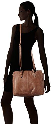 Spikes & Sparrow Damen Zip Bag Henkeltasche, 9x40x32 cm Braun (Cognac)