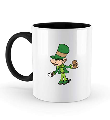 Affiliate.Inc Lustiges Irish Pub St Patricks Day Geschenk Paddys Day Pub outfit Kobold Kleeblatt Glück - Zweifarbige Tasse -330ml-Schwarz