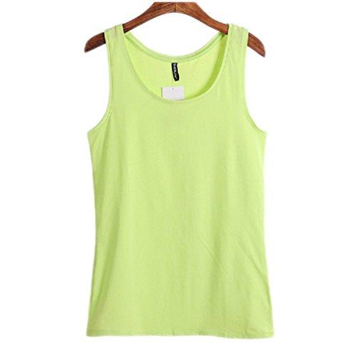 Wenseny Donna BXE Casual Canotta Senza Maniche T Shirt Verde