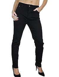 (1455) Jeans Extensible en Denim Noir pour Femmes Grandes Tailles