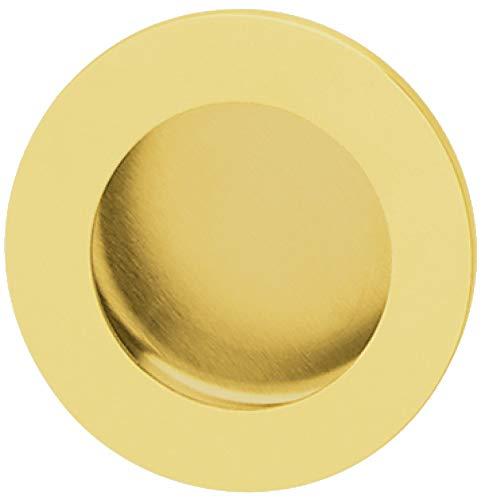 Gedotec Design Muschelgriff versenkt Schiebetürgriff rund - LADY GOLD | Griffschale Ø 50 mm | Einlassgriff Edelstahl PVD Messing poliert | Griffmuschel zum Einlassen | 1 Stück - Möbelgriff Schiebetür
