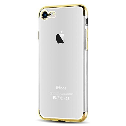 iPhone 8, iPhone 7 Silikonhülle | JAMMYLIZARD Backcover [CLARITY] Transparente Hülle aus Silikon Ultra Slim Case Cover Handyhülle mit Bumper in Metallisch Space Grau GOLD