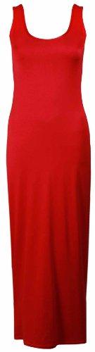 Damen Neu Einfarbig Ärmellos Gesamtlänge Rund U-ausschnitt Womens Sommer Langes Top Stretch Maxi Kleid Rot