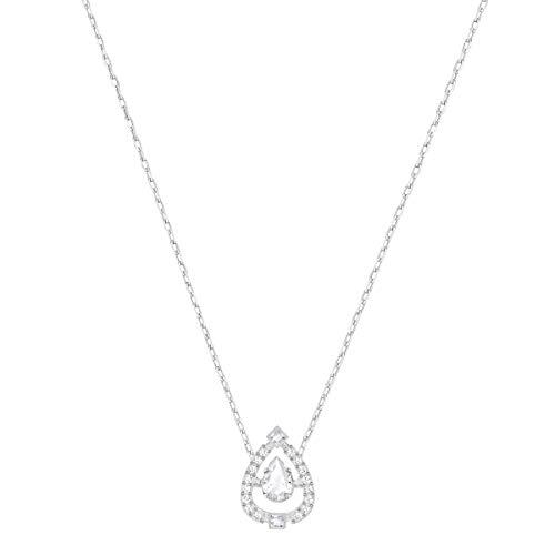Swarovski Sparkling Dance Flower Halskette, Weiss, Rhodiniert -