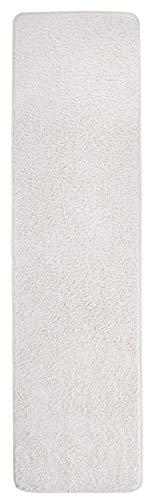 misento 292111 Shaggy Teppich Langflor Uni Farben weicher Flor Teppichläufer Brücke, 67 x 250 cm, crème / weiß