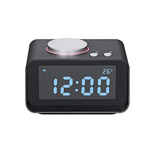 ZJHNZS Bluetooth-Lautsprecher Radio Wecker Lautsprecher LCD-Bildschirm mit Dual USB-Ladegerät FM-Lautsprecher-Funktion für MP3-Telefon Ipad Computer für Schlafzimmer, schwarz