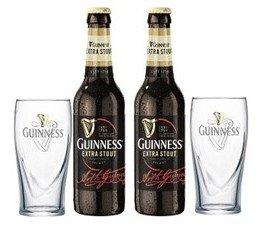 Guinness Vielfalt mit 2x0,33 L Bierflasche und 2 Stück Gläser 0,3l