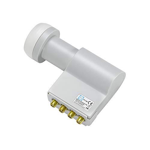 WISI Universal Speisesystem Quattro-LNB OC04D in Lichtgrau – LNB mit 40mm Feeddurchmesser für Multischalter-Anlagen oder Kanalaufbereitungen