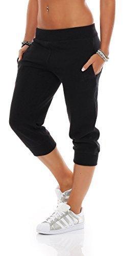 Gennadi Hoppe Damen 3/4 Trainingshose Sporthose Kurze Hose Sport Fitness Jogginghose Shorts Barmuda, schwarz,M